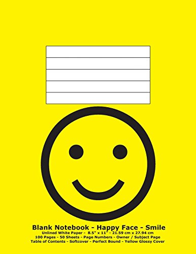 9781536982121: Blank Notebook - Happy Face - Smile: Unlined White Paper; 8.5