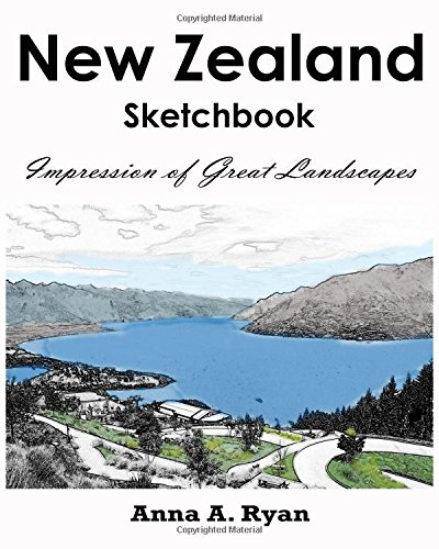 9781537140711: New Zealand Sketchbook : Impression of Great Landscapes: City Coloring Book for Adults