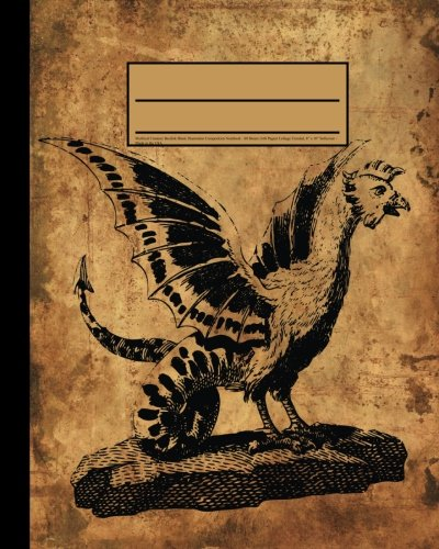 """9781537147710: Mythical Creature Basilisk Blank Illustration Composition Notebook: Journal has 80 Blank Sheets (160 Pages) Soft Cover Journal, College Unruled, 8"""" x 10"""" Workbook for School, Students, and Teachers"""