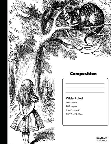9781537155401: Alice and the Cheshire Cat Composition Book Wide Ruled Notebook