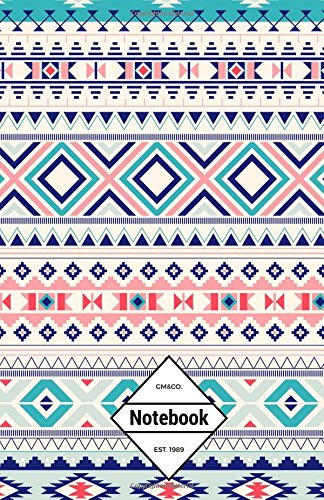 """9781537156910: GM&Co: Notebook Journal Dot-Grid, Lined, Graph, 120 pages 5.5""""x8.5"""" (Aztec Colorful Pattern)"""