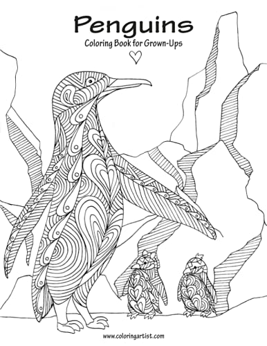 9781537164700: Penguins Coloring Book for Grown-Ups 1 (Volume 1)
