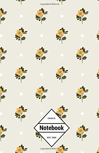 """9781537191850: GM&Co: Notebook Journal Dot-Grid, Lined, Graph, 120 pages 5.5""""x8.5"""" (Yellow Flowers Dots Pattern)"""