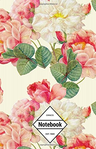 """9781537226705: GM&Co: Notebook Journal Dot-Grid, Lined, Graph, 120 pages 5.5""""x8.5"""" (Vintage Retro Flowers Floral Wedding) (Floral Notebook)"""