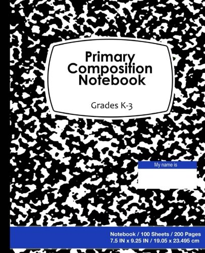 9781537262239: Primary Composition Notebook: Black marble on Blue Cover,school supplies, Ruled paper, 100 Sheets, 200 Pages, Primary Journal K-2nd Grades, 7.5 in x 9.25 in, 19.05 x 23.495 cm,Soft durable notebook
