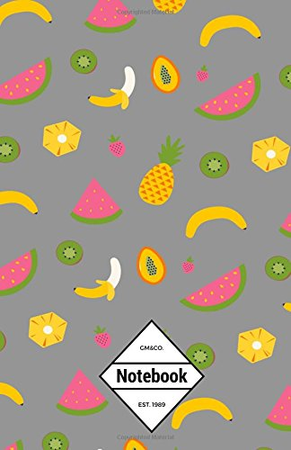 "9781537295190: GM&Co: Notebook Journal Dot-Grid, Lined, Graph, 120 pages 5.5""x8.5"": Grey Fruit Banana Watermelon (Tropical Notebook) (Volume 2)"
