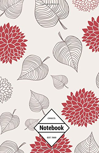 "9781537343341: GM&Co: Notebook Journal Dot-Grid, Lined, Graph, 120 pages 5.5""x8.5"": Leaves Smooth Red (Floral Notebook)"