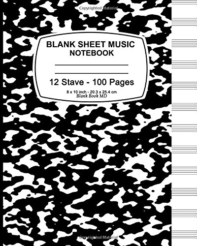 9781537534671: Blank Sheet Music: Black Marble,Music Manuscript Paper, Staff Paper, Musicians Notebook, Durable Book Binding,(Composition Books - Music Manuscript ... Stave * 100 pages, 8