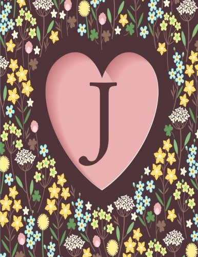 9781537558875: J: Monogram Floral Heart, Initial J, Lined Notebook (8.5 x 11)