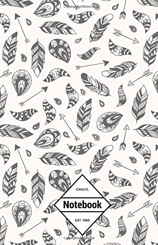 """9781537582856: GM&Co: Notebook Journal Dot-Grid, Lined, Graph, 120 pages 5.5""""x8.5"""": White Feather Boho Native Tribe"""