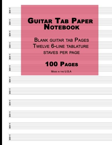 9781537639796: Guitar Tab Paper: Red Cover, Blank guitar tab paper Notebook featuring twelve 6-line tablature staves per page with a