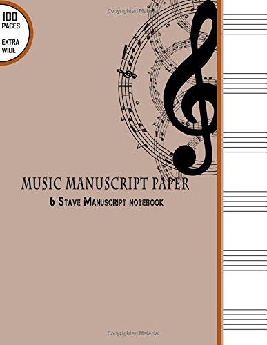 Music Manuscript Paper : 6 Stave Manuscript: Blank Books 'N'