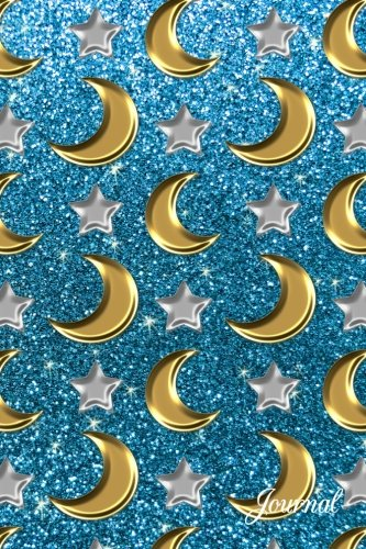 9781539008019: Journal: Faux sky blue glitter silver stars gold moons notebook