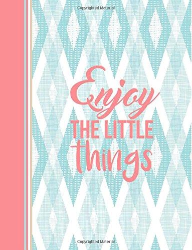 9781539054726: Enjoy the Little Things: Ikat Notebook (8.5 x 11), Pastel Light Aqua Blue and Pink