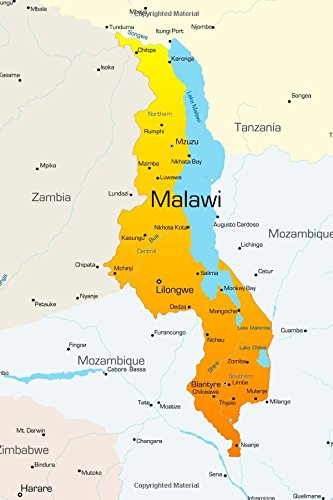 Map of Malawi Journal: 150 Page Lined: Image, Cool