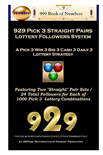 9781539998556: 929 Pick 3 Straight Pairs Followers System: A Pick 3