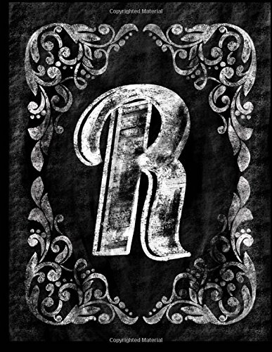 R:: Personalized (Monogram Initial) Chalkboard Journal/Notebook For Women/Men Teens or ...