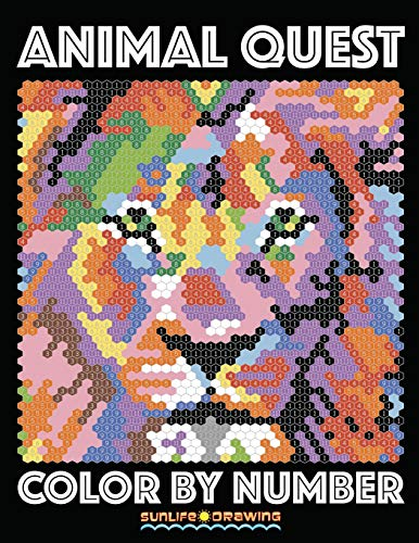 ANIMAL QUEST Color by Number: Adult Coloring Stress Relief Animals Hidden by Numbers (Adult ...