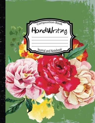 Handwriting Notebooks: Primary Composition Book and Journal:Green WaterColor Flower: Creative ...