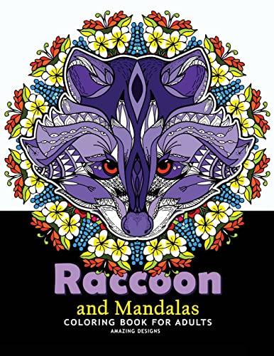 Raccoon and Mandalas Coloring Book for Adults: V Art