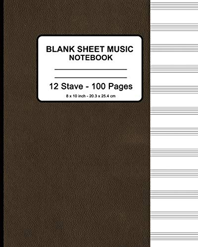 """Blank Sheet Music Notebook - Faux Brown Leather Print: 8"""" x 10"""" - Musicians Blank Sheet ..."""