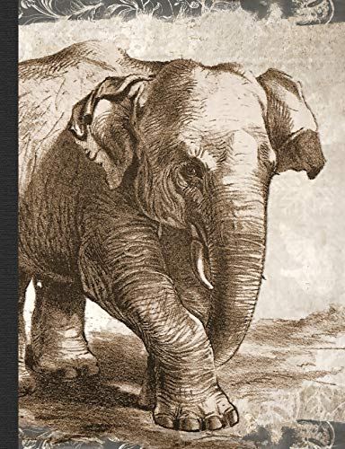 """Vintage Elephant Composition Notebook, College Ruled: 100 sheets / 200 pages, 9-3/4"""" x 7-1/2&..."""