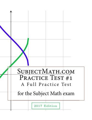 SubjectMath.com Practice Test #1, 2017 Edition: A Full Practice Test For the Subject Math Exam: ...