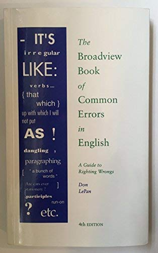 9781551113180: The Broadview Book of Common Errors in English: A Guide to Righting Wrongs