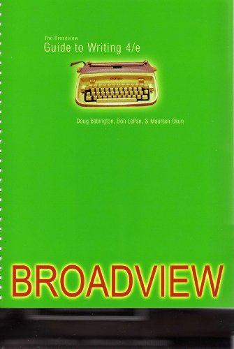 9781551119694: The Broadview Guide to Writing, fourth edition