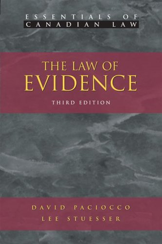 9781552210680: The Law of Evidence (Essentials of Canadian Law)