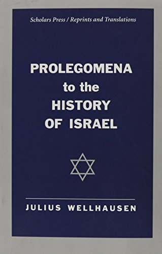 9781555409388: Prolegomena to the History of Israel (Scholars Press Reprints & Translations)