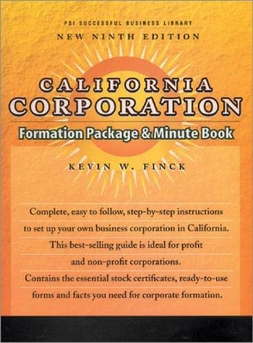 9781555714642: California Corporation Formation Package & Minute Book (PSI Successful Business Library)