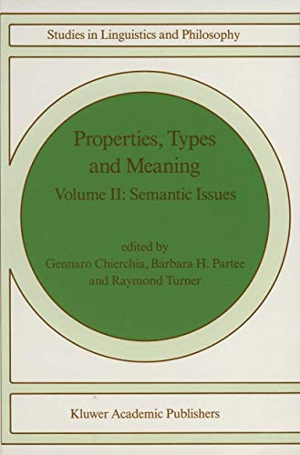 Properties, Types and Meaning: Volume II: Semantic Issues