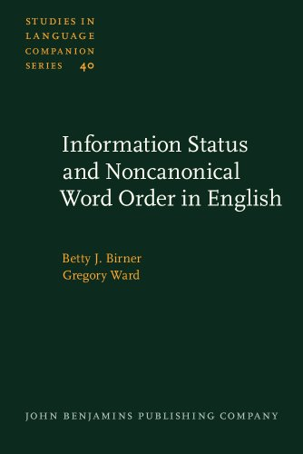 9781556199264: Information Status and Noncanonical Word Order in English (Studies in Language Companion Series)