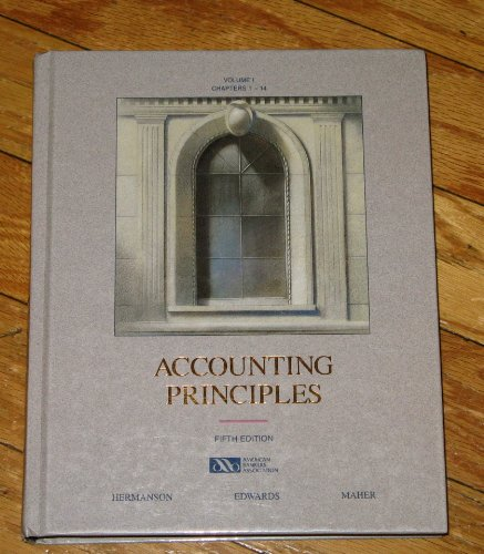 Accounting Principles (Volume I (chapters 1-14)): Roger Hermanson, James