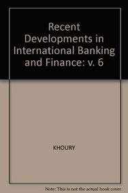 9781557863270: 006: Recent Developments in International Banking and Finance