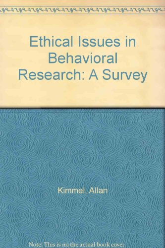 9781557863942: Ethical Issues in Behavioral Research: A Survey