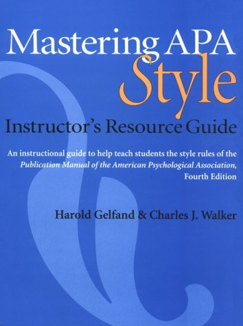 9781557988904 mastering apa style instructor s resource guide rh abebooks com mastering apa style instructor's resource guide