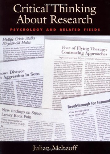 9781557984555: Critical Thinking About Research: Psychology and Related Fields