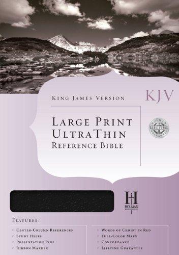 KJV Large Print Ultrathin Reference Bible, Black Genuine Leather Indexed (King James Version)