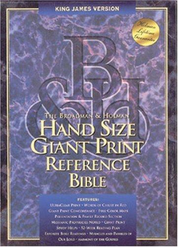 KJV Hand Size Giant Print Reference Bible (Black Genuine Leather)