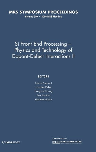 9781558995185: Si Front End Processing – Physics and Technology II of Dopant-Defect Interactions II: Volume 610 (MRS Proceedings)