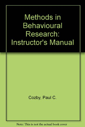 9781559340991: Methods in Behavioural Research: Instructor's Manual