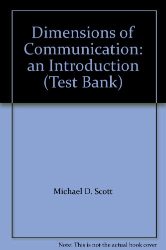 9781559344432: Dimensions of Communication: an Introduction (Test Bank)