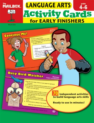 9781562348892: Activity Cards for Early Finishers: Language Arts (Grs. 4-6)