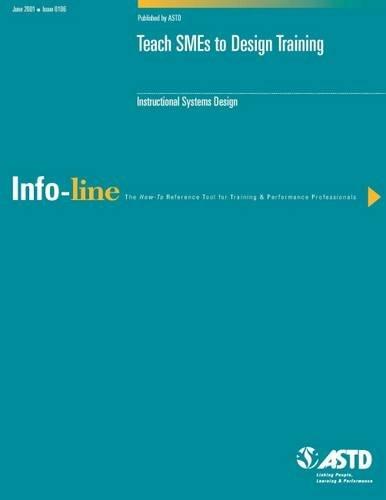9781562862725: Teach SMES to Design Training
