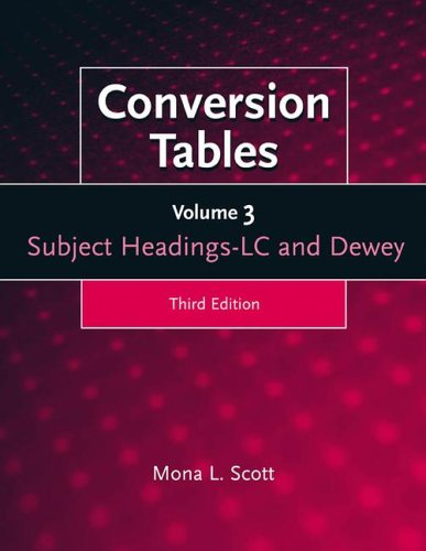 9781563085963: Conversion Tables [3 volumes]: (set of 3 volumes): LC-Dewey, Dewey-LC and LC Subject Headings-LC and Dewey v. 1-3