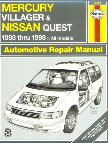 9781563923432: Haynes Mercury Villager and Nissan Quest: 1993 Thru 1998 (Haynes Automotive Repair Manual Series)