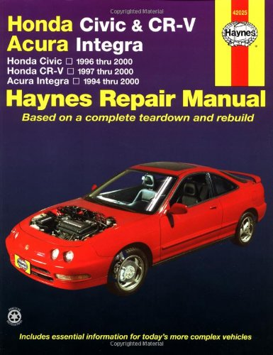 9781563924095: Honda Civic 1996-2000, Honda CR-V 1997-2000 & Acura Integra 1994-2000 (Haynes Automotive Repair Manual)