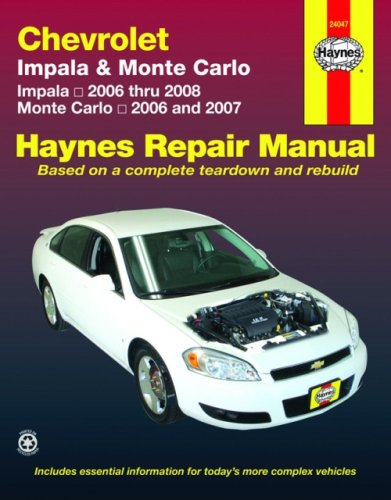 9781563927010: Chevrolet Impala '06-'08 & Monte Carlo '06-'07 (Automotive Repair Manual)